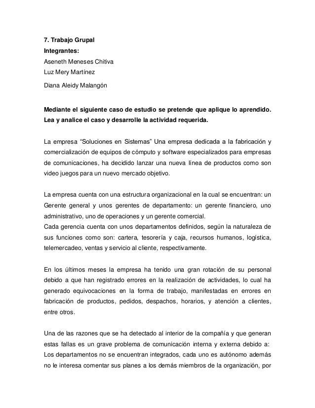 7. Trabajo GrupalIntegrantes:Aseneth Meneses ChitivaLuz Mery MartínezDiana Aleidy MalangónMediante el siguiente caso de es...