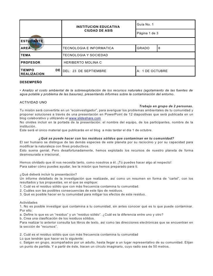 Guía No. 1                                     INSTITUCION EDUCATIVA                                         CIUDAD DE ASI...