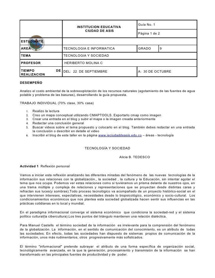 Guía No. 1                                    INSTITUCION EDUCATIVA                                        CIUDAD DE ASIS ...