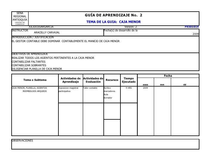 Guia2 caja menor for Modelo de nomina en blanco