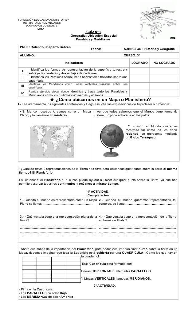 """FUNDACIÓN EDUCACIONAL CRISTO REY INSTITUTO DE HUMANIDADES """"SAN FRANCISCO DE ASÍS"""" LOTA GUÍA N° 2 Geografía: Ubicación Espa..."""
