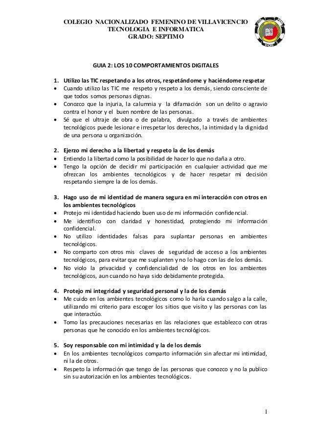 COLEGIO NACIONALIZADO FEMENINO DE VILLAVICENCIO TECNOLOGIA E INFORMATICA GRADO: SEPTIMO 1 GUIA 2: LOS 10 COMPORTAMIENTOS D...