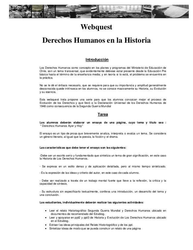 Webquest Derechos Humanos en la Historia Introducción Los Derechos Humanos como concepto en los planes y programas del Min...