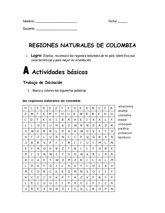 Resultado de imagen para taller sobre las regiones naturales de colombia