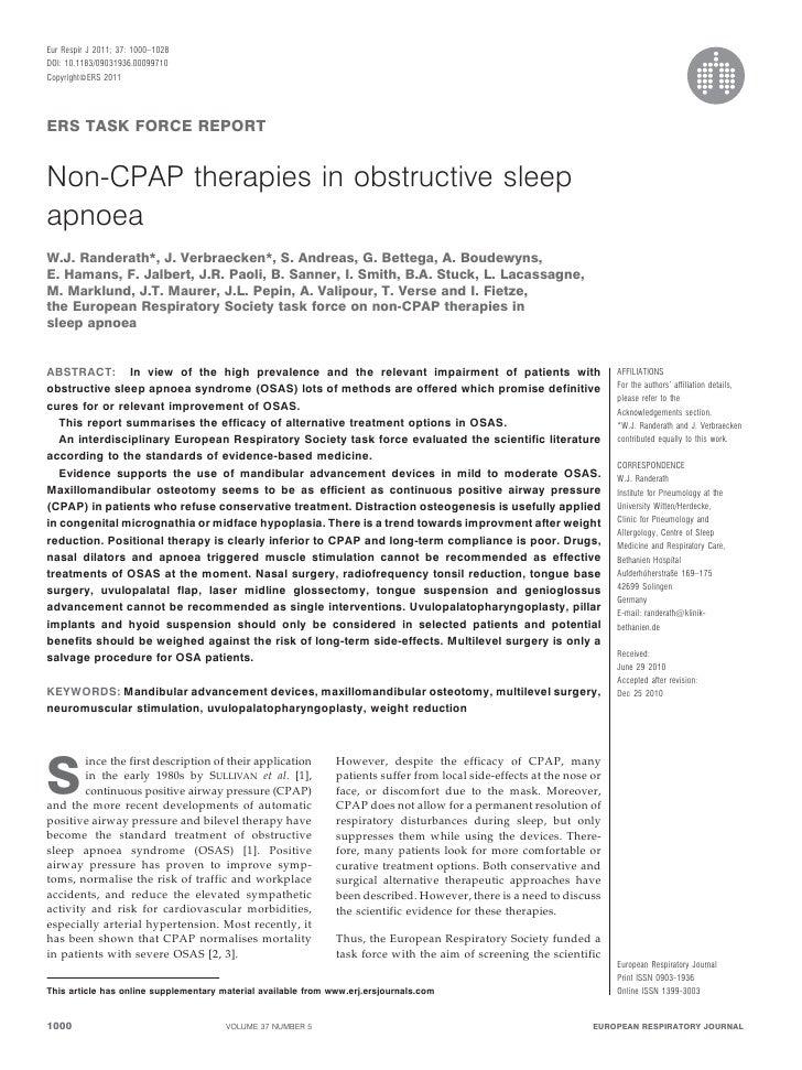 Eur Respir J 2011; 37: 1000–1028DOI: 10.1183/09031936.00099710CopyrightßERS 2011ERS TASK FORCE REPORTNon-CPAP therapies in...