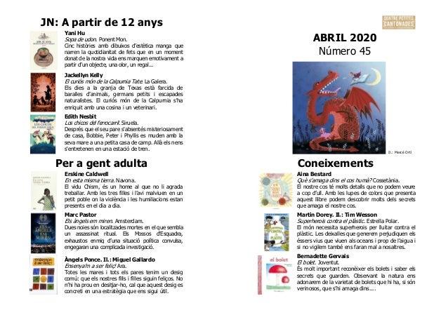 JN: A partir de 12 anys ABRIL 2020 Número 45 Yani Hu Sopa de udon. Ponent Mon. Cinc històries amb dibuixos d'estètica mang...