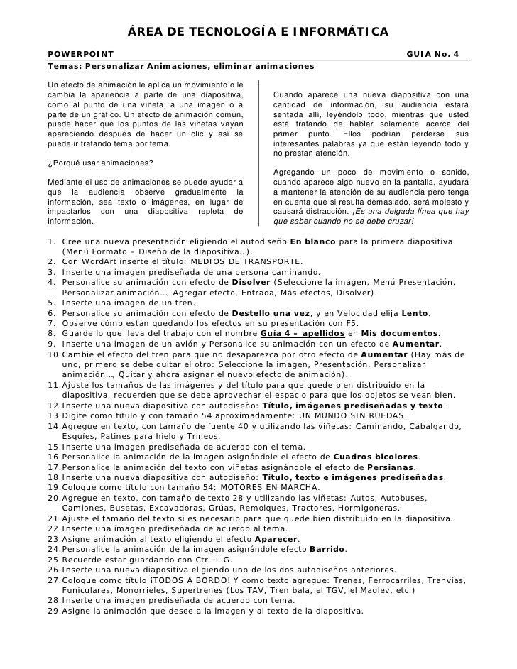 ÁREA DE TECNOLOGÍA E INFORMÁTICAPOWERPOINT                                                                              GU...