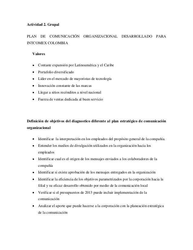 Actividad 2. GrupalPLAN    DE    COMUNICACIÓN           ORGANIZACIONAL            DESARROLLADO             PARAINTCOMEX CO...