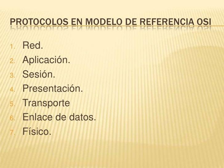 PROTOCOLOS EN MODELO DE REFERENCIA OSI<br />Red.<br />Aplicación.<br />Sesión.<br />Presentación.<br />Transporte<br />Enl...