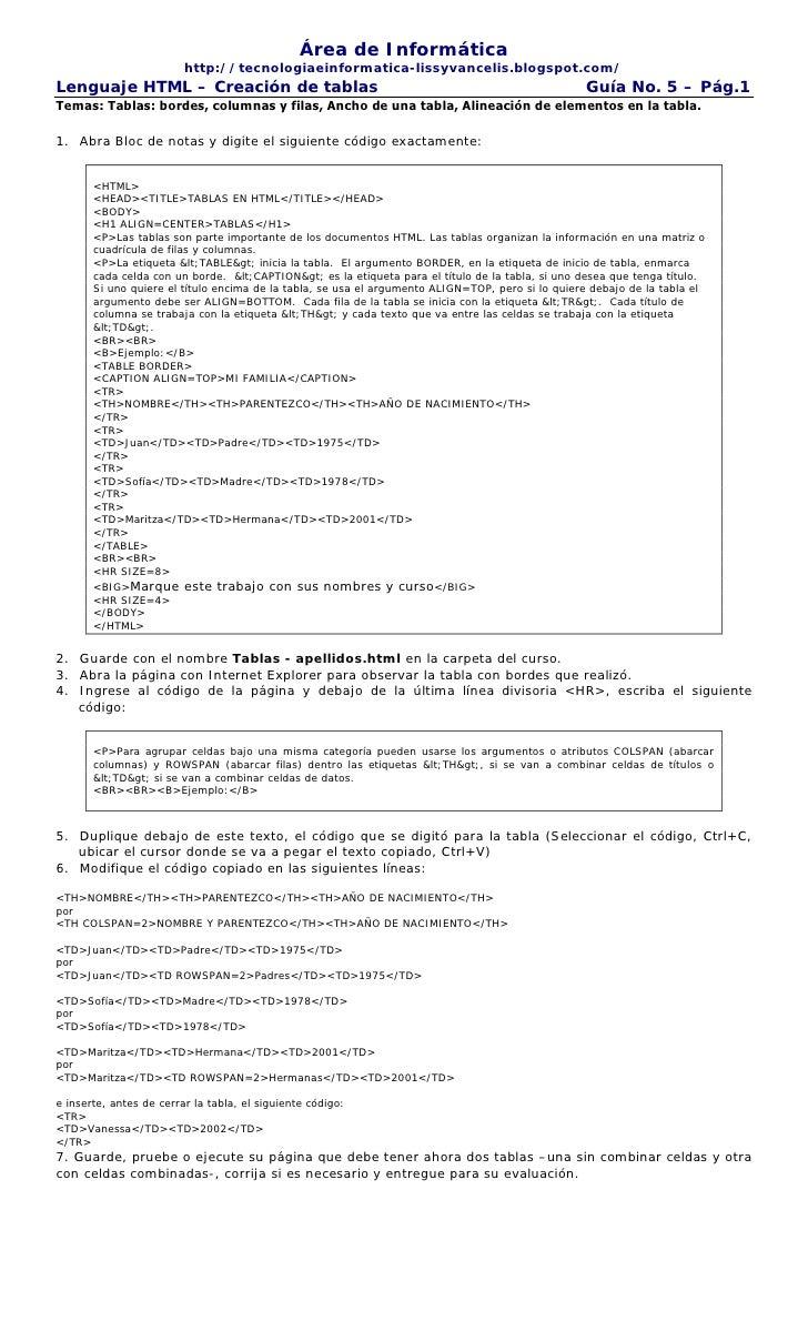 guia 5 de html tablas rea de informtica httptecnologiaeinformatica lissyvancelisblogspotcomlenguaje - Tabla Periodica En Html Codigo