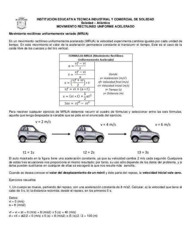INSTITUCION EDUCATIVA TECNICA INDUSTRIAL Y COMERCIAL DE SOLEDAD Soledad – Atlántico MOVIMIENTO RECTILINEO UNIFORME ACELERA...