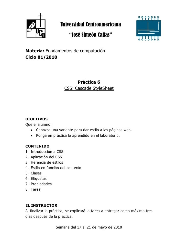 """Universidad Centroamericana                          """"José Simeón Cañas""""  Materia: Fundamentos de computación Ciclo 01/201..."""