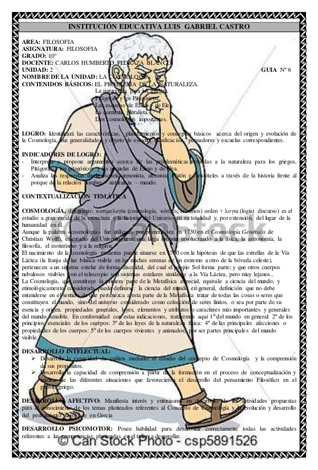 INSTITUCIÓN EDUCATIVA LUIS GABRIEL CASTRO AREA: FILOSOFIA ASIGNATURA: FILOSOFIA GRADO: 10° DOCENTE: CARLOS HUMBERTO PEDRAZ...