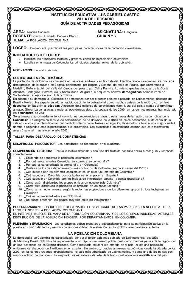 INSTITUCIÓN EDUCATIVA LUÍS GABRIEL CASTRO VILLA DEL ROSARIO GUÍA DE ACTIVIDADES PEDAGÓGICAS ÁREA: Ciencias Sociales ASIGNA...