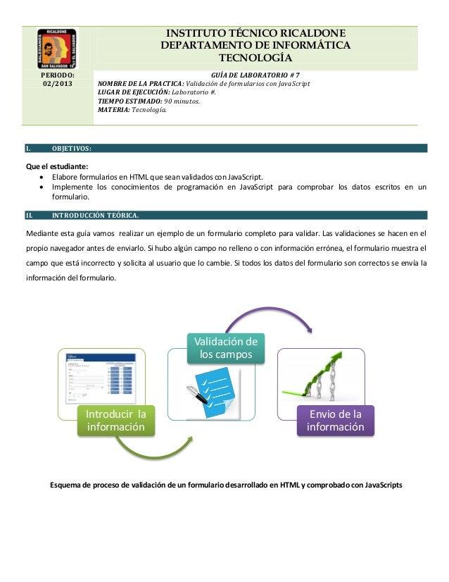 INSTITUTO TÉCNICO RICALDONEDEPARTAMENTO DE INFORMÁTICATECNOLOGÍAPERIODO:02/2013GUÍA DE LABORATORIO # 7NOMBRE DE LA PRACTIC...