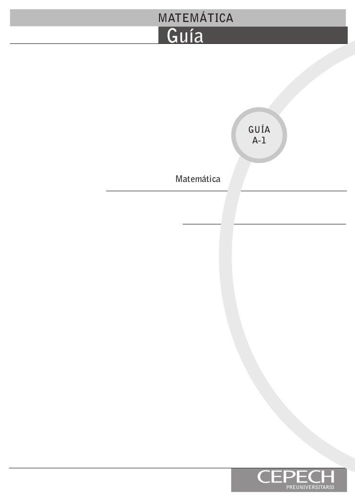 MATEMÁTICA Guía               GUÍA                A-1  Matemática