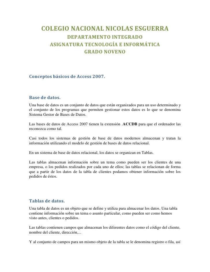 COLEGIO NACIONAL NICOLAS ESGUERRA                 DEPARTAMENTO INTEGRADO            ASIGNATURA TECNOLOGÍA E INFORMÁTICA   ...