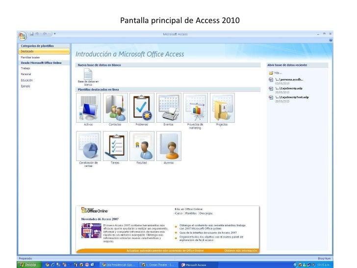 Pantalla principal de Access 2010<br />