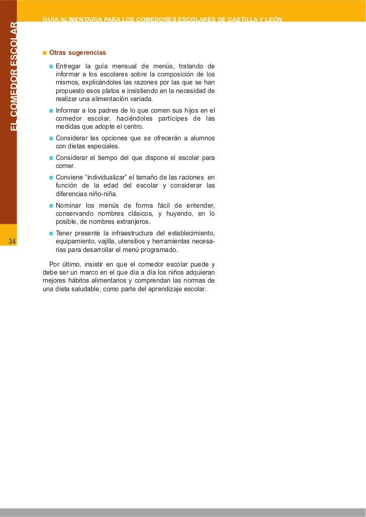 Comedor Jcyl. GUIA ALIMENTARIA COMEDORES ESCOLARES DE LA JUNTA DE ...