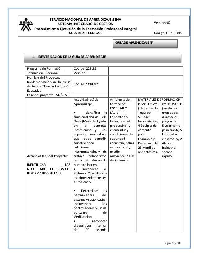 SERVICIO NACIONAL DE APRENDIZAJE SENA SISTEMA INTEGRADO DE GESTIÓN Procedimiento Ejecución de la Formación Profesional Int...