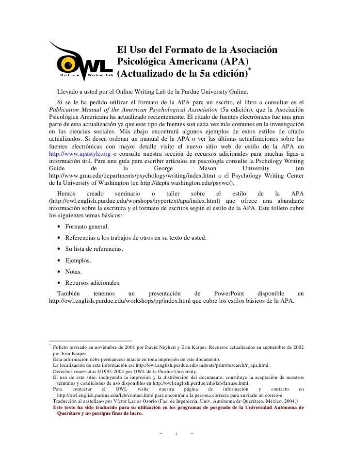 El Uso del Formato de la Asociación                                  Psicológica Americana (APA)                          ...