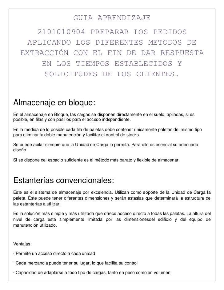 GUIA APRENDIZAJE<br />2101010904 PREPARAR LOS PEDIDOS APLICANDO LOS DIFERENTES METODOS DE EXTRACCIÓN CON EL FIN DE DAR RES...