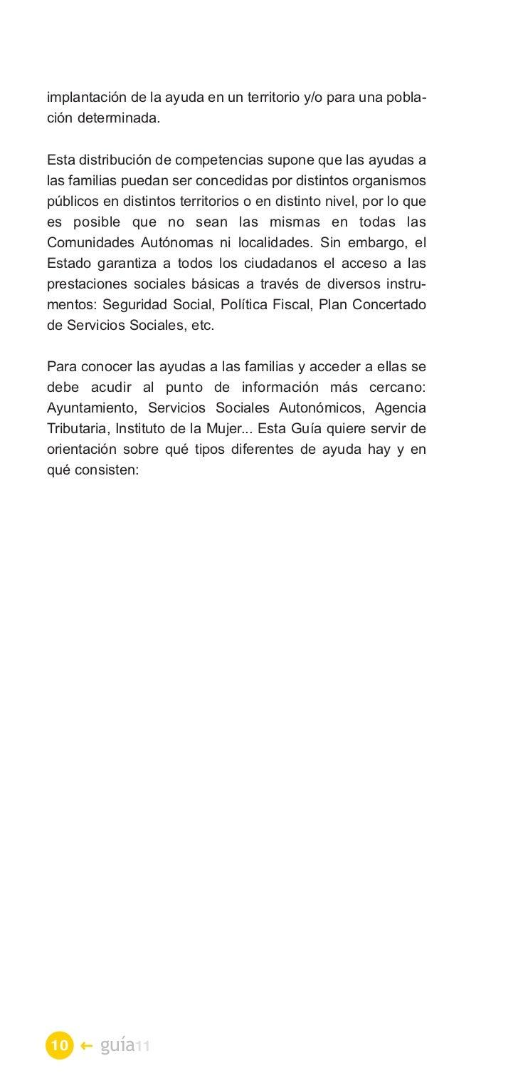 GUÍA DE AYUDAS SOCIALES PARA LAS FAMILIAS 2011
