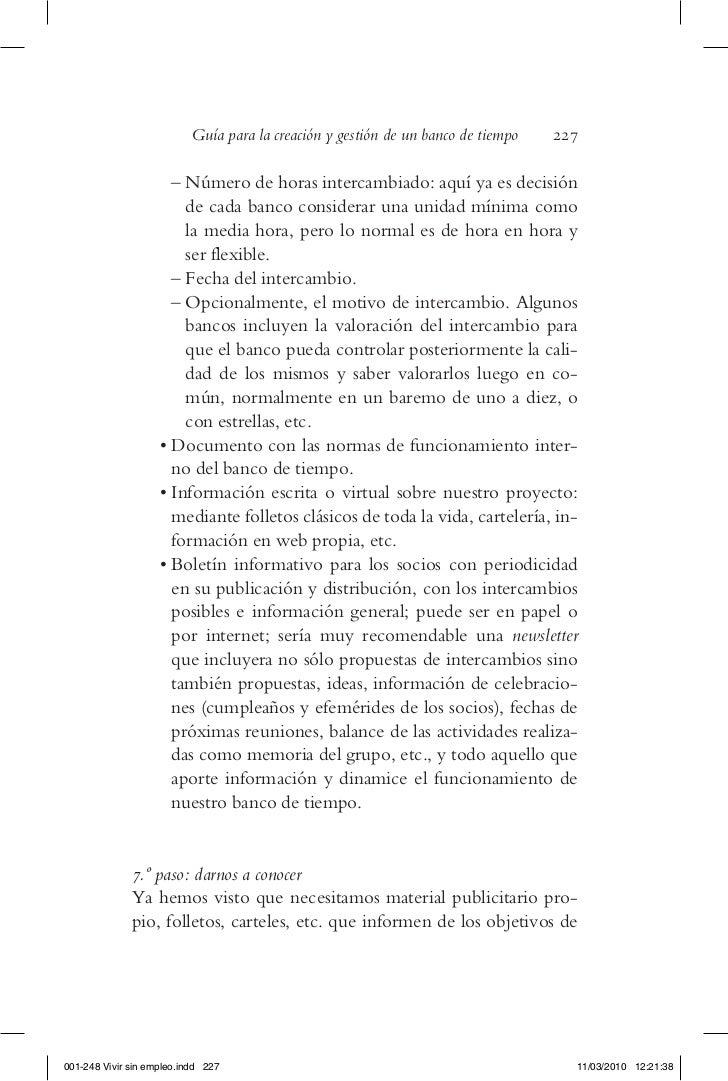 Guía para la creación y gestión de un banco de tiempo   227                        – Número de horas intercambiado: aquí y...