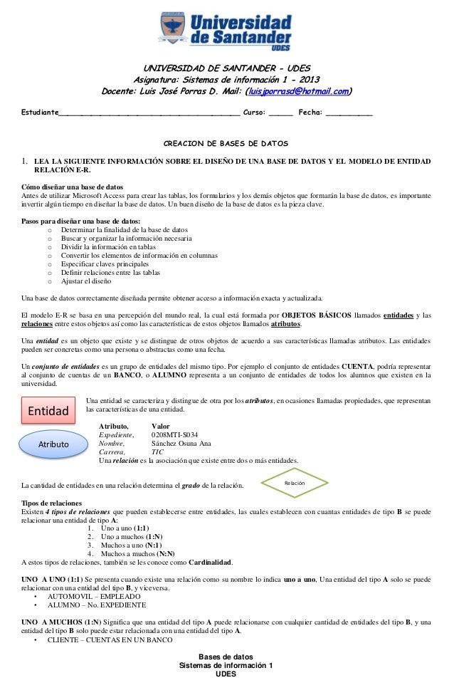 Bases de datos Sistemas de información 1 UDES UNIVERSIDAD DE SANTANDER - UDES Asignatura: Sistemas de información 1 - 2013...