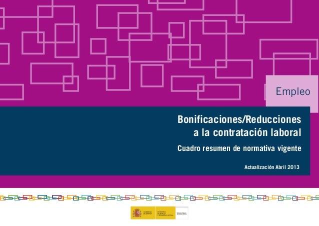 Empleo Bonificaciones/Reducciones a la contratación laboral Cuadro resumen de normativa vigente Actualización Abril 2013