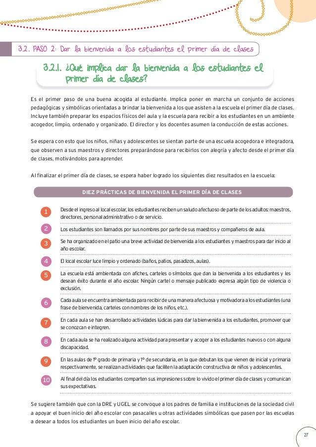 GUIA PARA UNA ESCUELA Y ACOGEDORA DESDE EL INICIO DEL AÑO ESCOLAR
