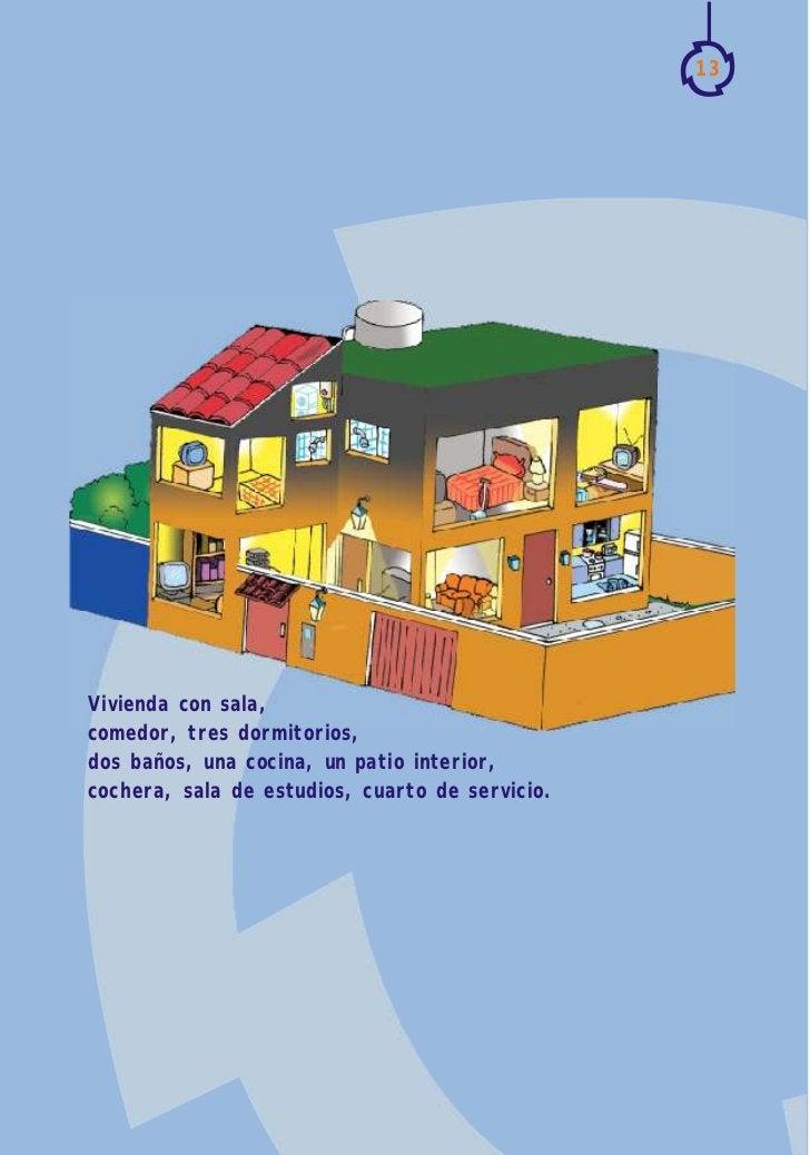13Vivienda con sala,comedor, tres dormitorios,dos baños, una cocina, un patio interior,cochera, sala de estudios, cuarto d...