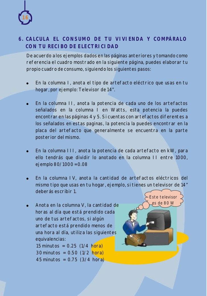 166. CALCULA EL CONSUMO DE TU VIVIENDA Y COMPÁRALO   CON TU RECIBO DE ELECTRICIDAD  De acuerdo a los ejemplos dados en las...