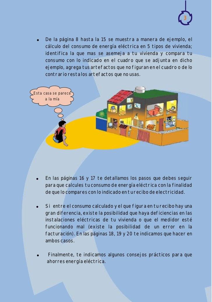 3 !   De la página 8 hasta la 15 se muestra a manera de ejemplo, el     cálculo del consumo de energía eléctrica en 5 tipo...