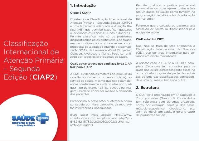 Classificação  Internacional de  Atenção Primária  – Segunda  Edição (CIAP2)  1. Introdução  O que é CIAP?  O sistema de C...