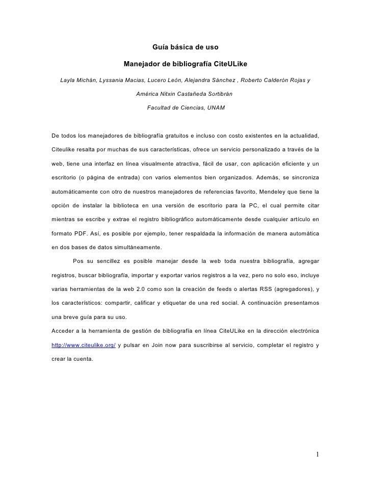 Guía básica de uso                             Manejador de bibliografía CiteULike     Layla Michán, Lyssania Macias, Luce...