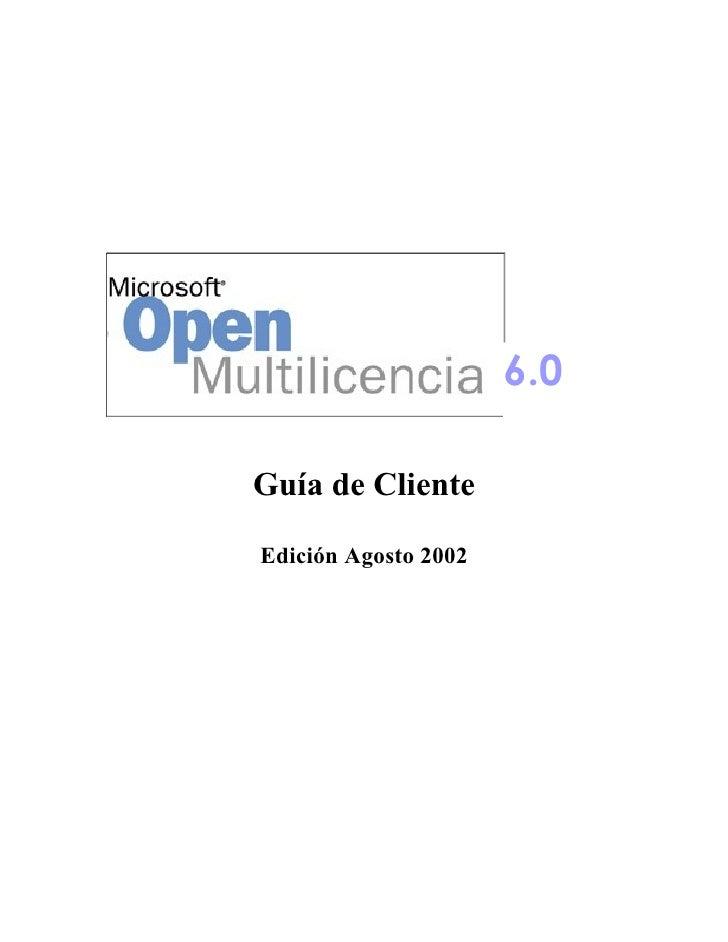 6.0                       6.0  Guía de Cliente  Edición Agosto 2002