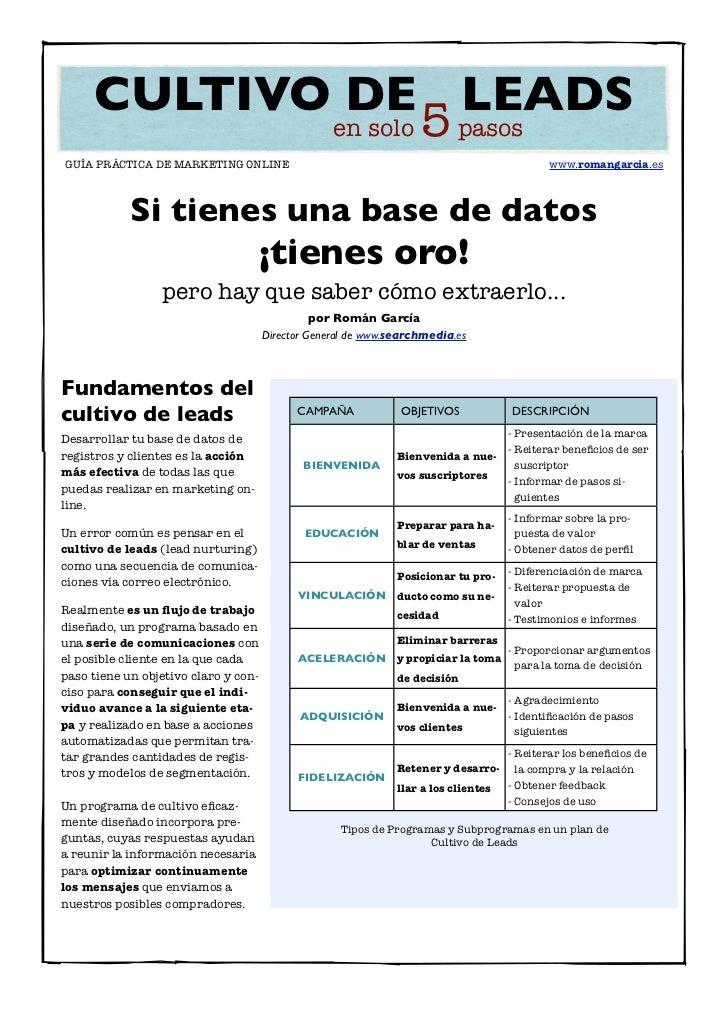 CULTIVO DE LEADS            en solo 5 pasosGUÍA PRÁCTICA DE MARKETING ONLINE                                              ...