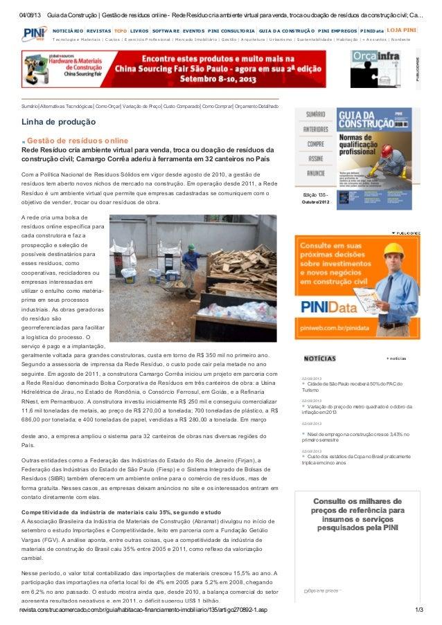 04/08/13 Guia da Construção | Gestão de resíduos online - Rede Resíduo cria ambiente virtual para venda, troca ou doação d...