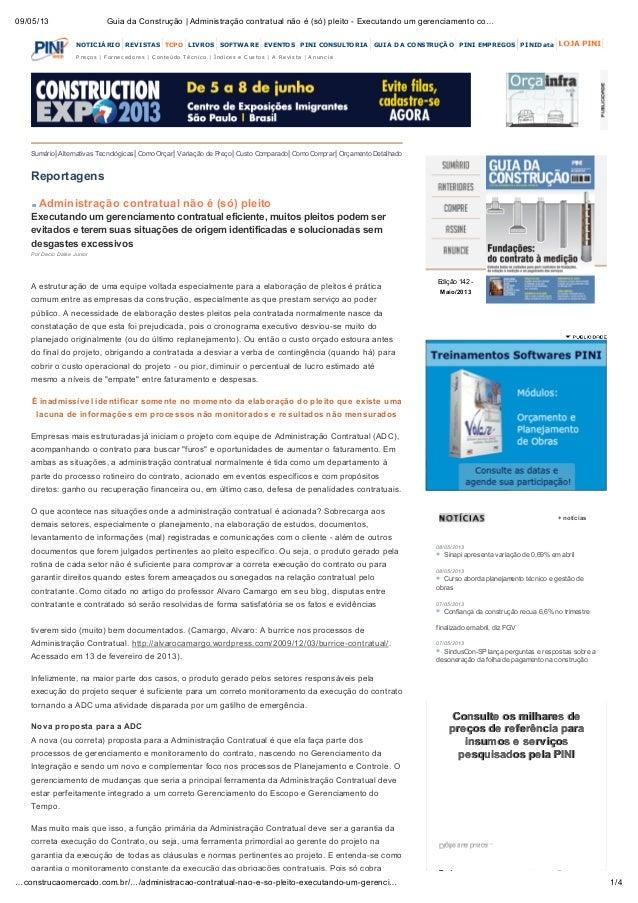 09/05/13 Guia da Construção | Administração contratual não é (só) pleito - Executando um gerenciamento co…1/4…construcaome...