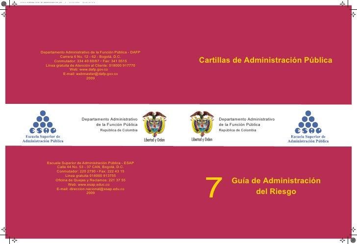 Cartillas de Administración Pública     Departamento Administrativo     de la Función Pública     República de Colombia 7 ...