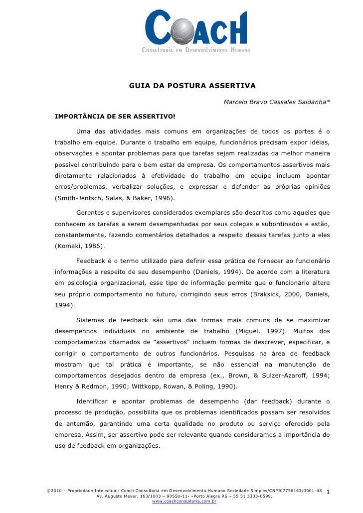 GUIA DA POSTURA ASSERTIVA                                                                           Marcelo Bravo Cassales...