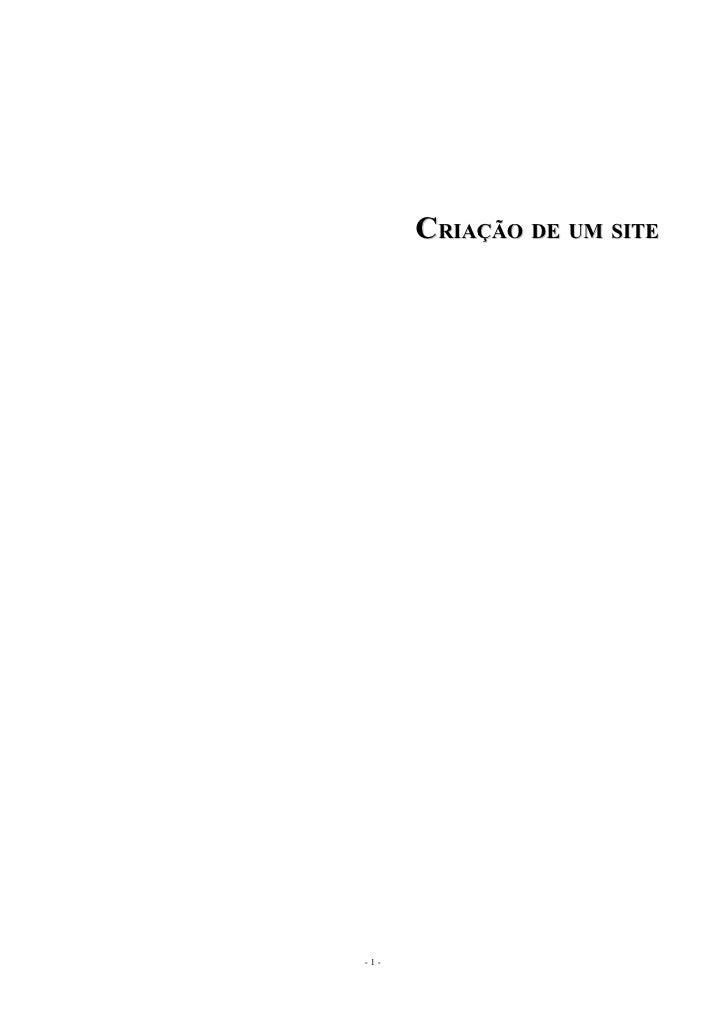 CRIAÇÃO DE UM SITE     -1-