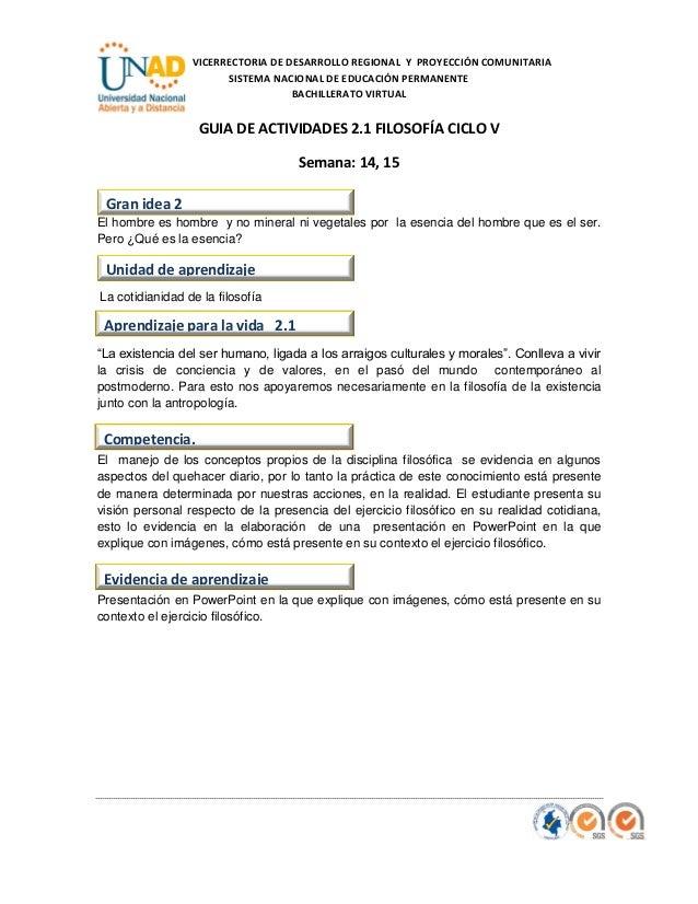 Guia de actividades 2.1 filosofía ciclo v - photo#46