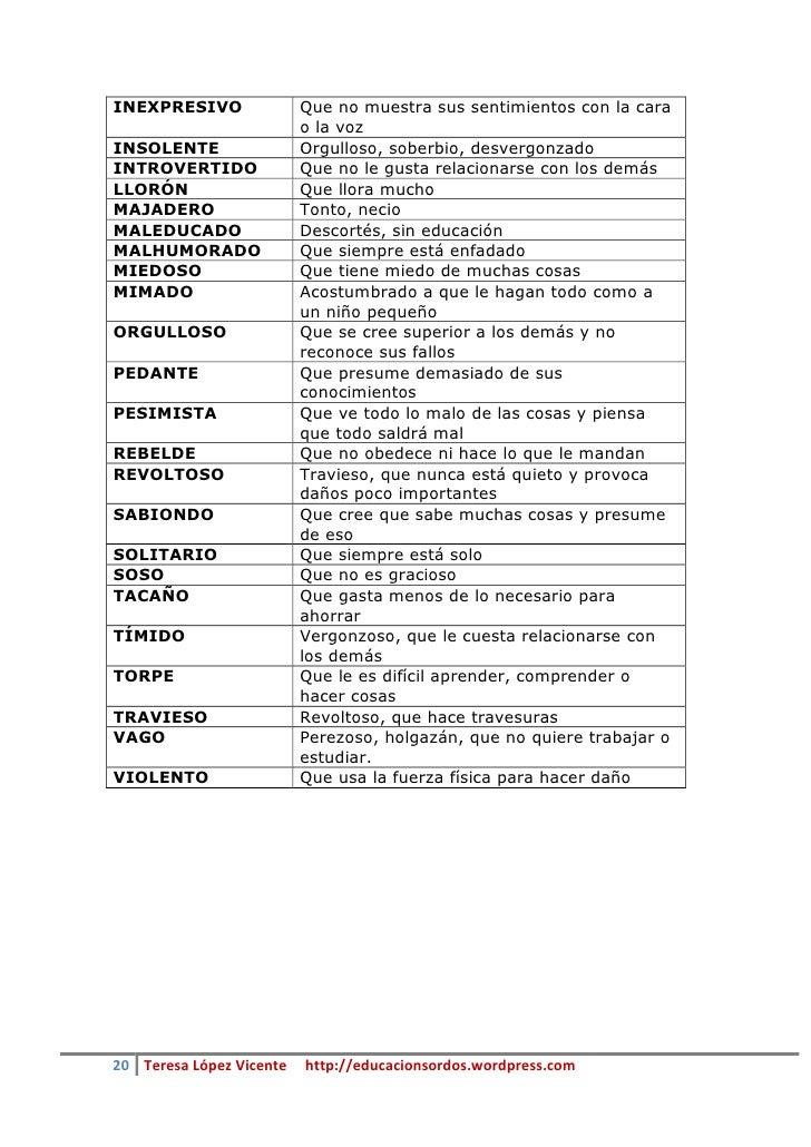 Guia De Adjetivos Para Descripciones De Personas