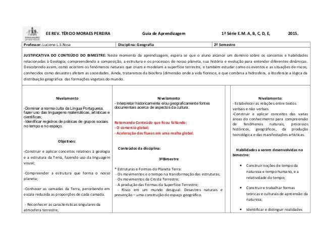 EE REV. TÉRCIO MORAES PEREIRA Guia de Aprendizagem 1ª Série E.M. A, B, C, D, E, 2015. Professor: Luciene L.S.Rosa Discipli...