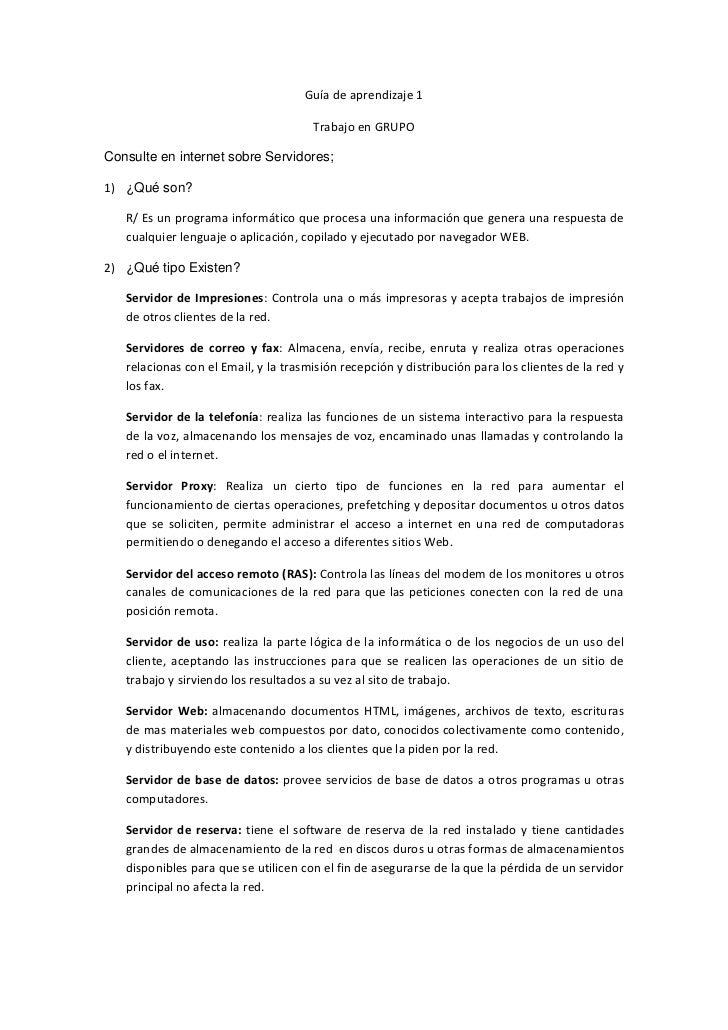 Guía de aprendizaje 1                                      Trabajo en GRUPOConsulte en internet sobre Servidores;1) ¿Qué s...