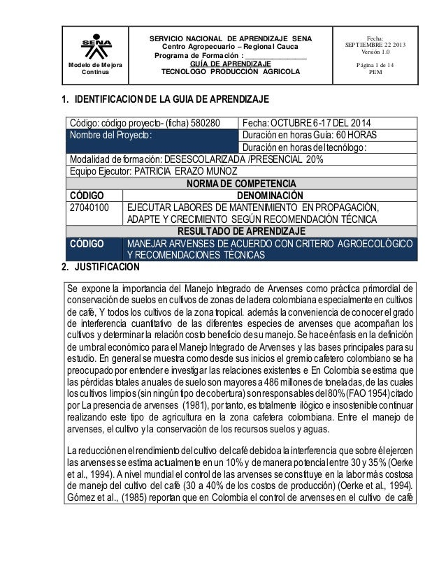 Modelo de Mejora Continua SERVICIO NACIONAL DE APRENDIZAJE SENA Centro Agropecuario – Regional Cauca Programa de Formación...