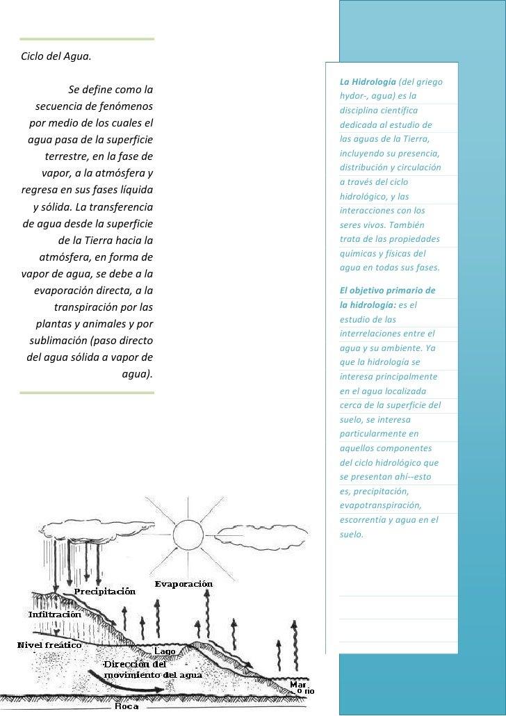 Ciclo del Agua.                                 La Hidrología (del griego           Se define como la     hydor-, agua) es...