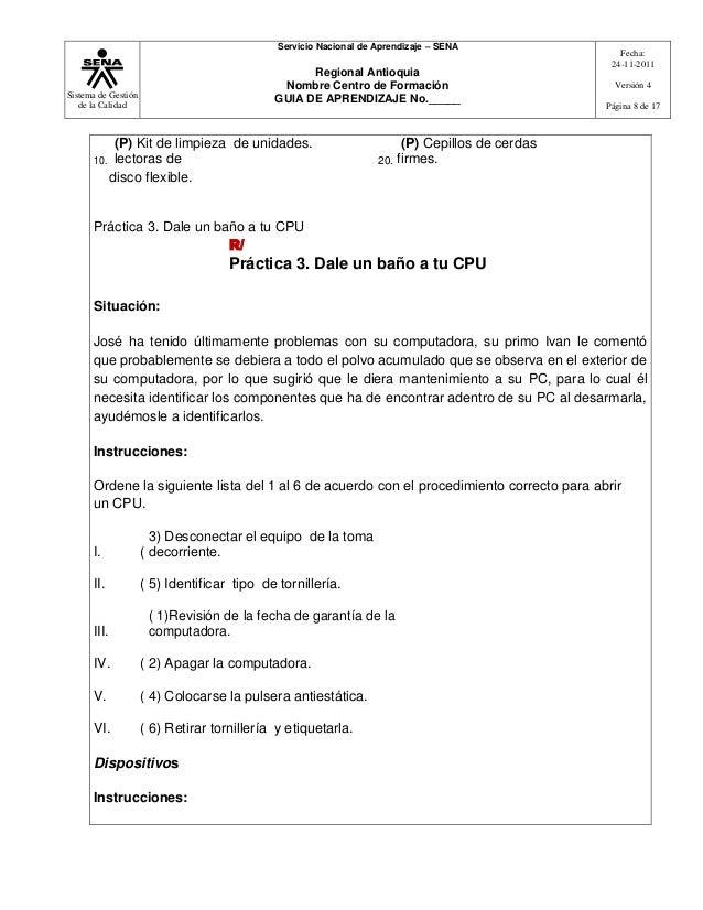 Sistema de Gestiónde la CalidadServicio Nacional de Aprendizaje – SENARegional AntioquiaNombre Centro de FormaciónGUIA DE ...